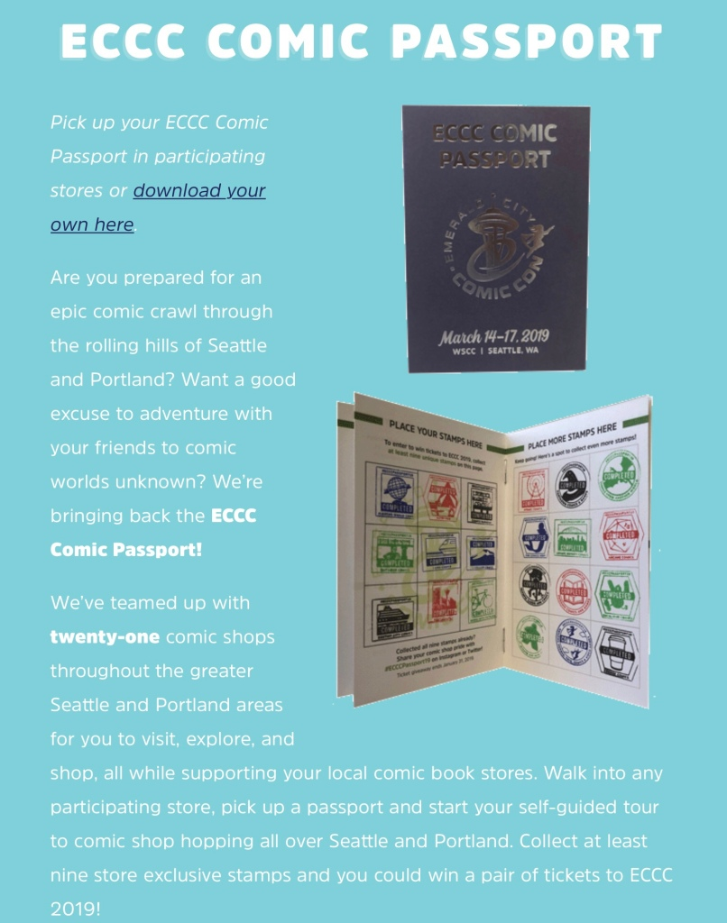 Image of Passport program description on Emerald City Comic Con website
